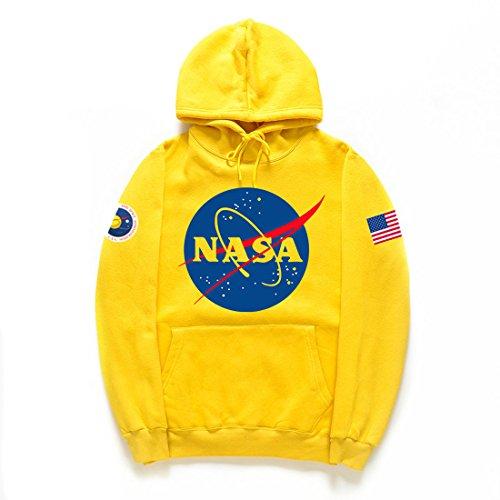 CHENMA Unisex NASA Logo Print Winter Warm Fleece Hoodie Sweatshirt with Kangaroo Pocket (Yellow 2, L/US M)