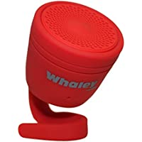 AudioBomb 12169 Whaley Waterproof Bluetooth Portable Rechargeable Speaker Pair Two & Play (Included Suction Cup & Flexible Arm Attachment), Red