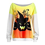 Farjing Women's Halloween Devil Print Long Sleeve Tops Blouse Shirt(S,White )