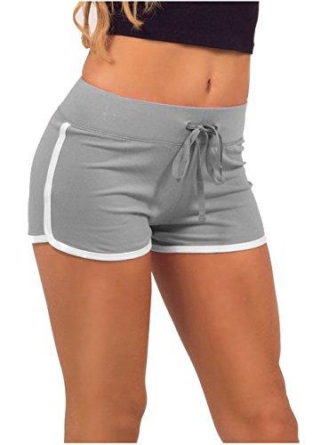 Hippolo - Pantaloncini corti estivi da donna sportivi per palestra, allenamento e yoga grigio Gray S NIUURT