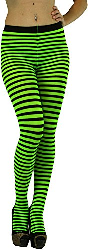 ToBeInStyle Women's Opaque Striped Pantyhose Stocking Hosiery - QUEEN SIZE - BLACK/NEONGREEN - One Size: Plus -