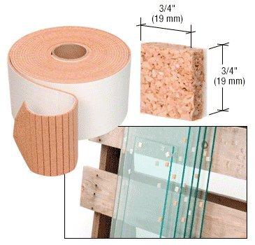 CRL 3/4'' x 3/4'' x 1/4'' Cork Non-Adhesive Shipping Pads - Bulk
