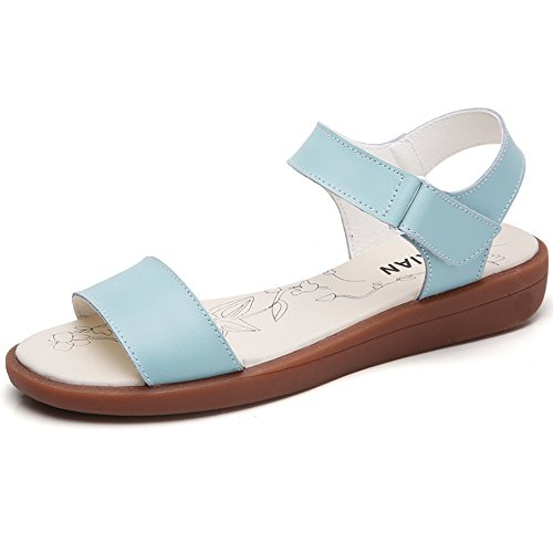 Y Blue Loafers amp;Mai All Match Women Simple Flat Sandals Velcro Summer aCHqxrwa