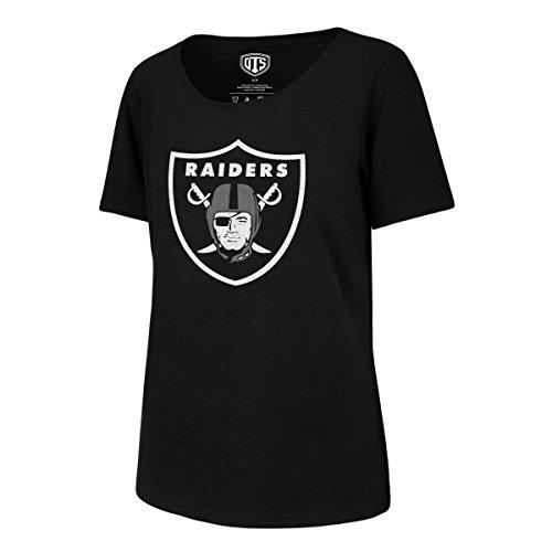 NFL Oakland Raiders Women's OTS Slub Scoop Tee, Distressed Logo - Jet Black, - Oakland Tees Raiders Vintage