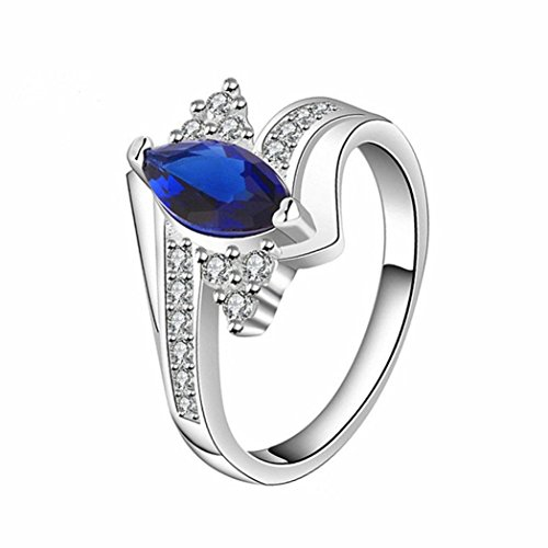 - Lethez Women's Ring, Women Blue Enamel Platinum Micro Mosaic Rings Engagement Wedding Bridal Jewelry (Blue, 8)