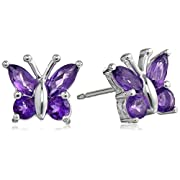 Amazon Lightning Deal 74% claimed: Sterling Silver Gemstone Butterfly Stud Earrings