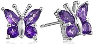 Sterling Silver .88 Cttw Purple Amethyst Butterfly Stud Earrings