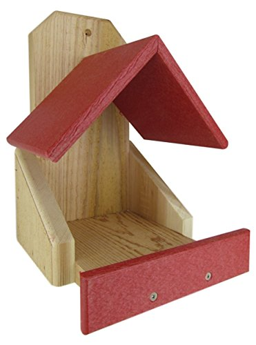 Birdhouse Red Roof - JCs Wildlife Cedar Robin Roost Birdhouse with Recycled Poly Lumber Roof, Red