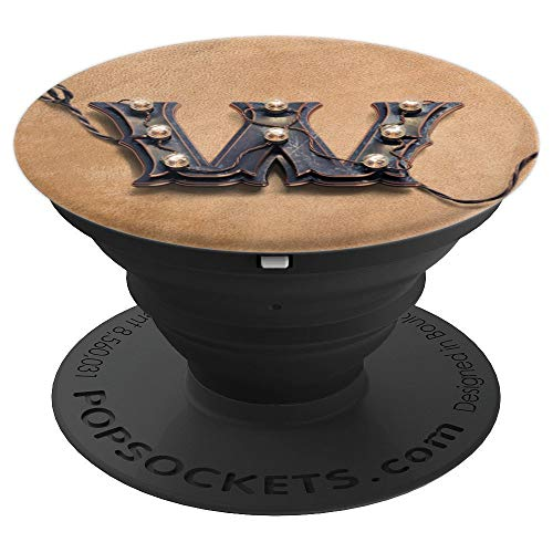 Letter W Steampunk Gift Accessory On Tan Background PopSockets Grip and Stand for Phones and Tablets