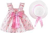 Cuekondy 0-24 Months Newborn Toddler Baby Girl Summer Clothes Outfits Floral Bow Princess Dress+Hat Set