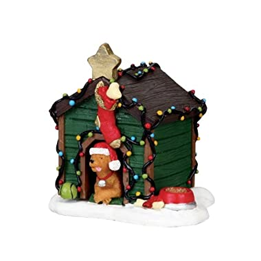 2010 Coventry Cove Decorated Light Doghouse Christmas Village Figurine