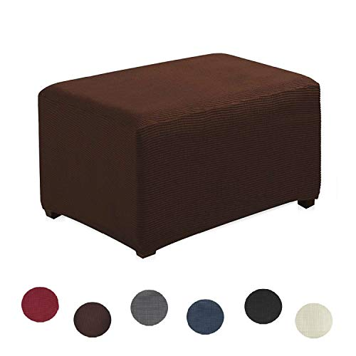 Argstar Jacquard Ottoman Cover Fleece Protector Stretch Slipcover Chocolate for Sofa Sets