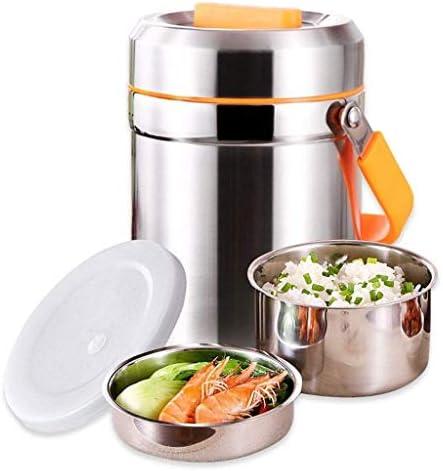 食品サーモス、ハンドルふた付きフードジャー真空断熱ステンレスランチサーモスBPAフリーランチボックス、リークプルーフ二重壁真空断熱スープコンテナ