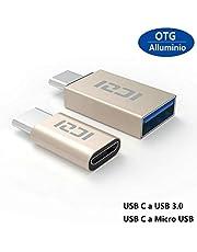 ICZI Adattatore USB C a Micro USB e Adattatore USB C a USB 3.0 Alluminio per Nexus Huawei LG G5 G6 Honor 8 Asus ZenFone 3 One P lus 2 3 3T Nintendo Switch e Altri