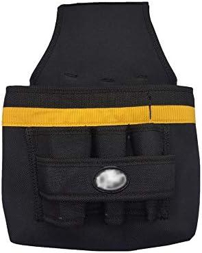 ツールベルト 軽量で丈夫なキャンバスウエストツールベルト肥厚大容量ツールオーガナイザーブラック 大工のエプロン (Color : Black, Size : 21x18.5cm)