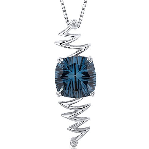 Concave Cushion Cut 9.00 carats Sterling Silver Rhodium Finish London Blue Topaz - Pendant 9k Gold