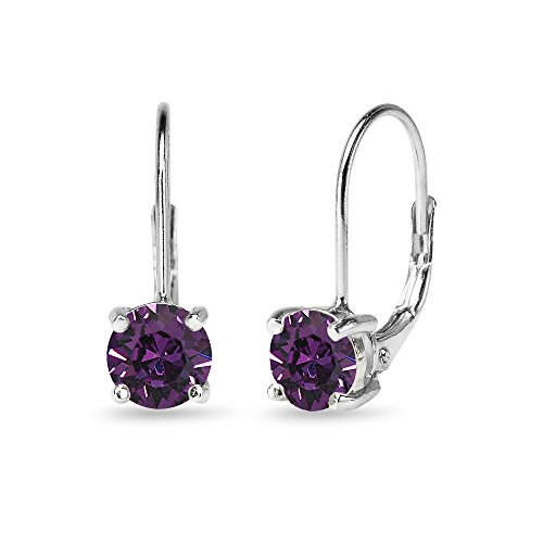 Sterling Silver Purple Round-cut Leverback Earrings Made with Swarovski Crystals ()