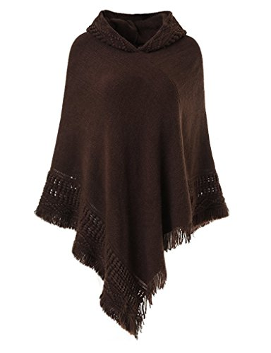 Anatoky Womens Cape With Hood Batwing Sleeves Tassels Hems Loose Fit Ladies Fall Winter Knitted Shawl Wrap Warm Cloak Coat
