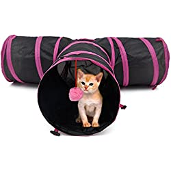 PAWZ Road Pet Play Tunnel Collapsible Three Way Cat Tube Toy for Rabbits Kittens Dogs with Ball Pink