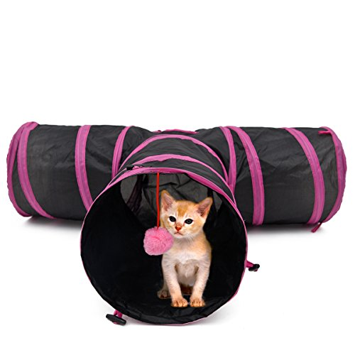 PAWZ Road Pet Play Tunnel Collapsible Three Way Cat Tube Toy for Rabbits Kittens Dogs with Ball Pink ()