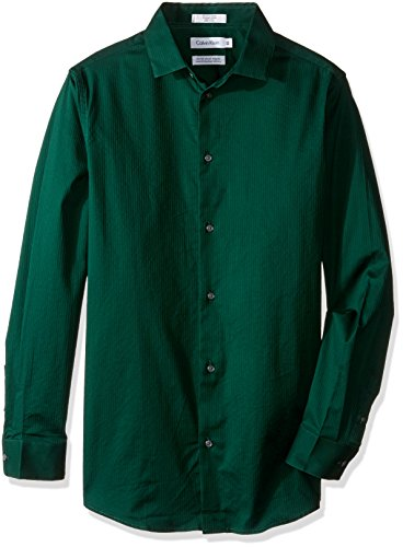 - Calvin Klein Big Boys Long Sleeve Luster Tonal Stripe Stretch Shirt, Luster Dark Green, 18