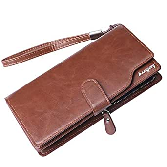 Business Wallet for Men Leather Long Clutch Large Capacity Hasp Phone Bag