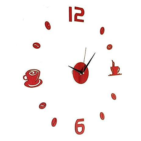 Amazoncom Large Wall Clock DIY Wall Sticker Clock Coffee Tea Cup