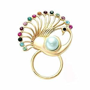 NOUMANDA Women Bijoux Jewelry Colorful Crystal Peacock Magnetic Clip Holder Sunglass Hanger Magnetic Eyeglass Holder Pin