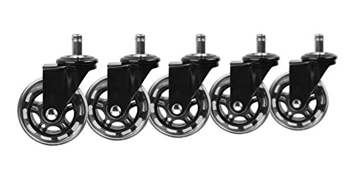 Slipstick CB690 Protecting Rubber Office Chair Wheels (Set of 5) Safe Rolling on All Flooring - Universal Fit Rollerblade Style Replacement Casters, Black