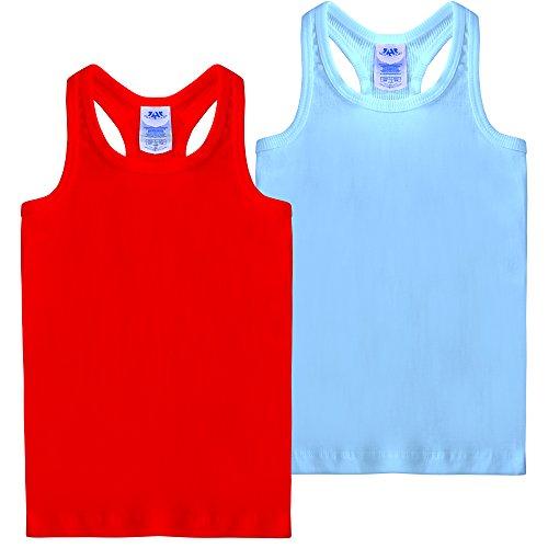 FRESH TEE Girls' Racer Back Tank Top Tunic (Girl 5/6, 2pk Red/Sky Blue) (Ribbed Girls Tank)
