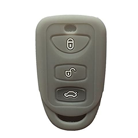 Gray 3 Buttons Silicone Key Fob Case Cover Jacket Key Skin fit for Kia Hyundai (Remote Start 2014 Hyundai)