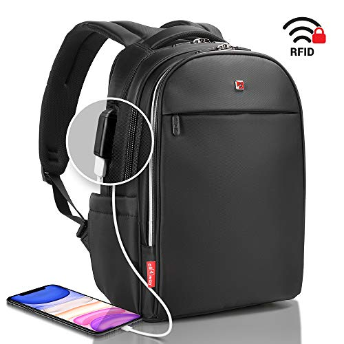 "all4way Business Laptop Backpack Large - Swiss Design Anti Theft RFID - USB Quick Charge Business Bag - College Travel School Back Pack - Waterproof with Rain Cover 17"" Black"