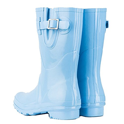 NAN Rain Boots Female Candy Bright Rubber Shoes Shoes In The Tube Pure Color Rain Boots Water Shoes Female Spring And Summer (Color : Blue, Size : EU37/UK4.5-5/CN37) Blue