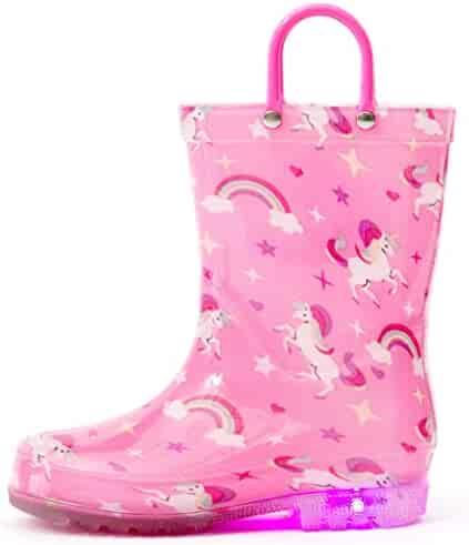 Outee Toddler Kids Adorable Printed Light Up Rain Boots for Easter Gift