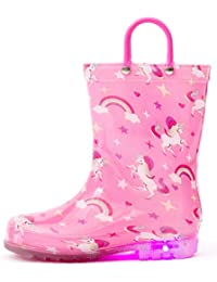 Toddler Boys Girls Printed Light Up Rain Boots