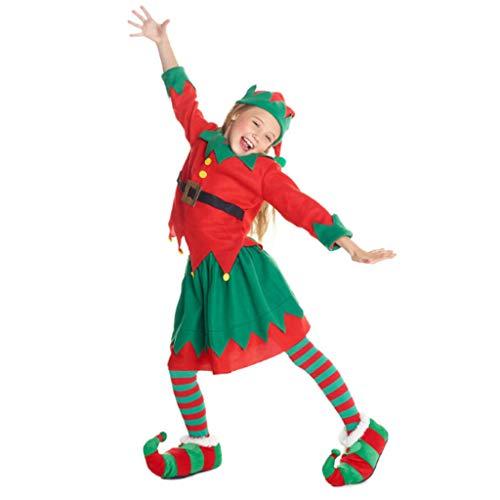 DONGBALA Girls Christmas Elf Costume, Kids Festive Outfit Toyshop Santas Little Helper for Party Fancy Dress Outfit School Play Carnival Contains Hat + Clothes (Age 5-10),100cm (Santas Toyshop)