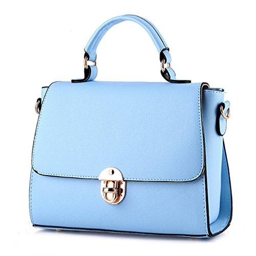 Azul Bolso cuero Bolso para para mujer de mensajero mano Bolso de de cuero Cielo 0v5qOO