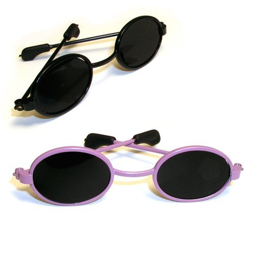Doll Sunglasses for American Girl Dolls - 18 Inch Doll Sunglasses, by Sophia's, 2 pr. Set of Black & Purple Doll Sunglasses, Doll Accessories