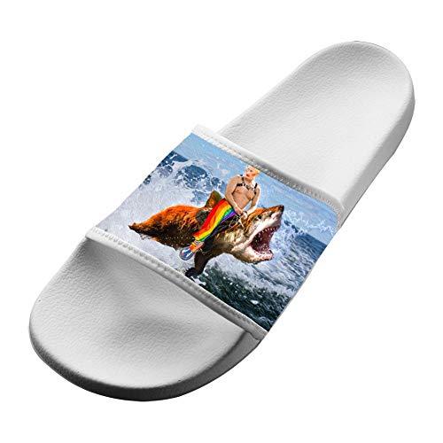 La8La Adult 3D Print Slippers,Gay Clown Putin riding a Bear Shark Flat Sandals Shoes White Women 13 (M) US ()