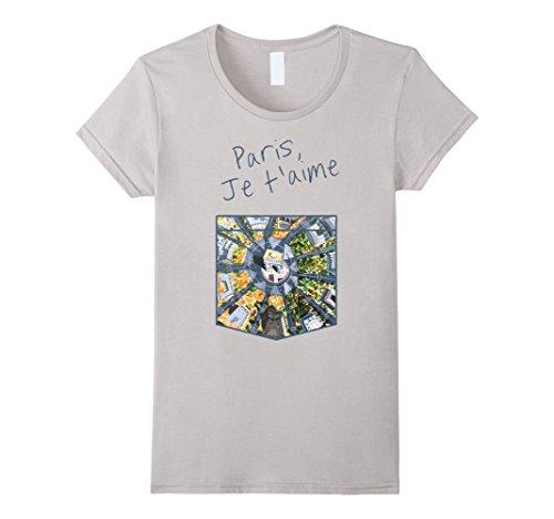 Womens Paris, Je t'aime - Paris I Love You T-Shirt Large Silver