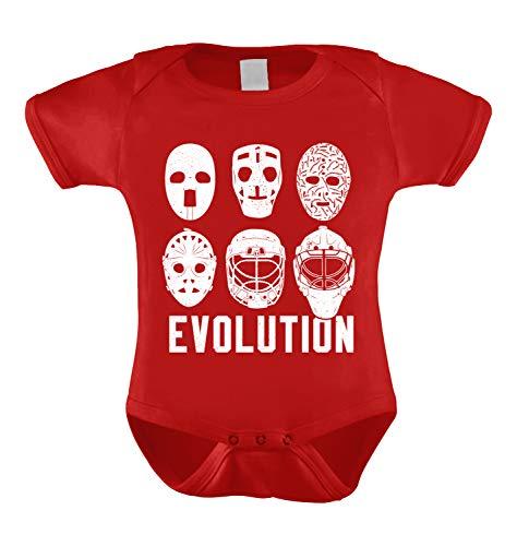 HAASE UNLIMITED Evolution of Hockey Masks Infant Bodysuit (Red, 18 Months)