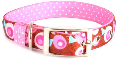 - Yellow Dog Design Uptown Collar, Small, Metro Pink/Brown on Pink Polka, Small Dots