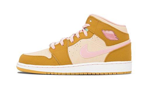 Nike Jordan Kids Air Jordan 1 Mid WB GG Wheat/Pink Glaze/Shimmer Basketball Shoe 5 Kids US