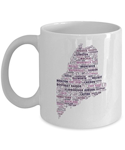 (Maine Cities In The Shape Of The State 11 oz Coffee Mug)