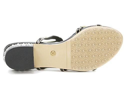Zapatos Dulce Imitación Plano Chancletas Playa T Verano Correa En Sandalias Flor Bohemia Negro De Diamante Nvxie Mujer Señoras qwFpxUa