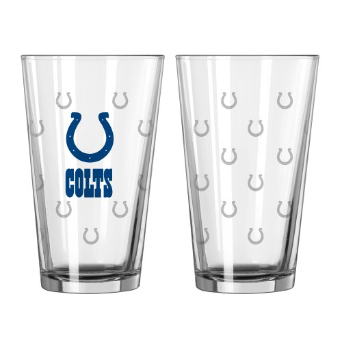 NFL Indianapolis Colts Satin Etch Pint, 16-ounce, - Colt Glasses