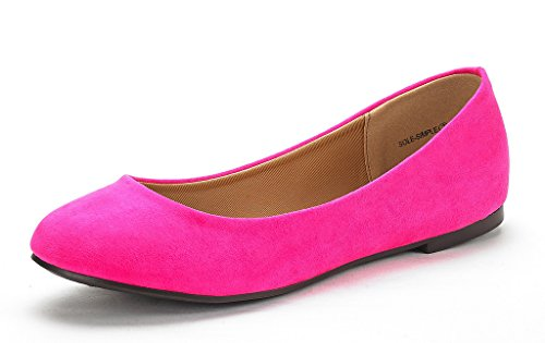 DREAM PAIRS Women's Sole Simple Fuchsia Ballerina Walking Flats Shoes - 9 M US