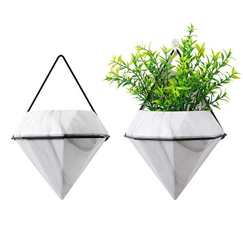 T4U Diamond Wall Planters Geometric Wall Vases Set of 2, Ceramic Mounted Succulent Air Plants Pots Cactus Faux Plant Containers Modern Indoor Decor for Home and Office, Marble White