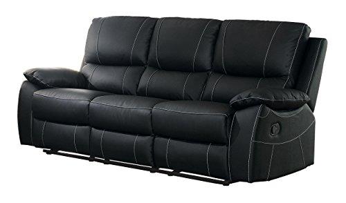 Homelegance Greeley Reclining Sofa Top Grain Leather Match, Black