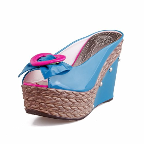 VogueZone009 Womens Open Peep Toe High Heel Platform Wedges Soft Material Assorted Colors Sandals with Bowknot, Blue, 3 UK